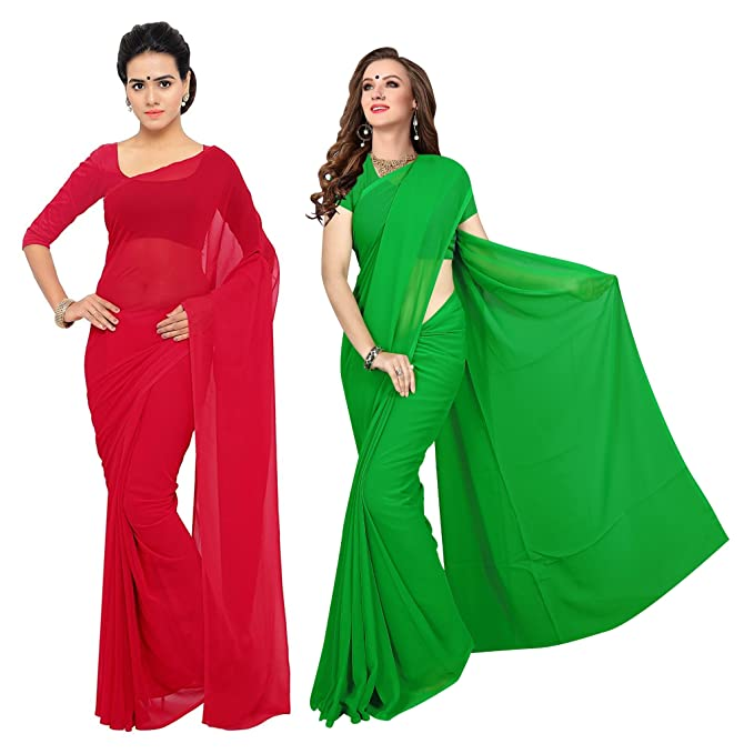 bb6505a998 Sidhidata Textile Combo of 2 Women's plain Solid pure Georgette Saree With Unstitched  Blouse Piece {