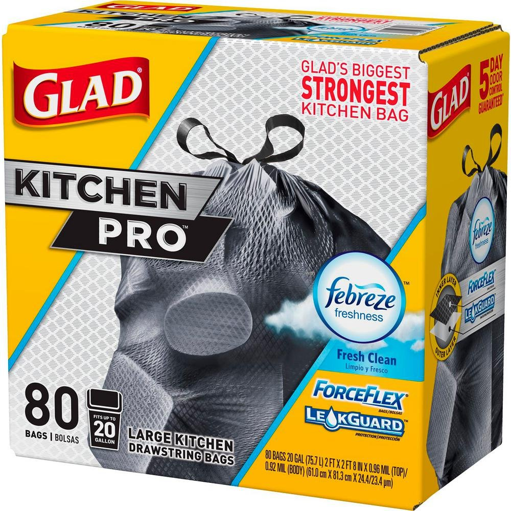 Glad Forceflex Kitchen Pro Drawstring Trash Bags, Fresh Clean, 80 Count (Packaging May Vary) (3 Pack(80 Count))