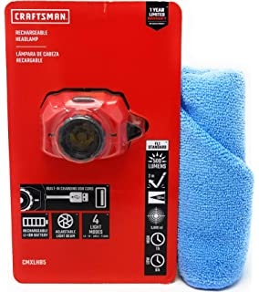 Craftsman LED Rechargeable Headlamp, 500 Lumens and Tesadorz Microfiber Towel