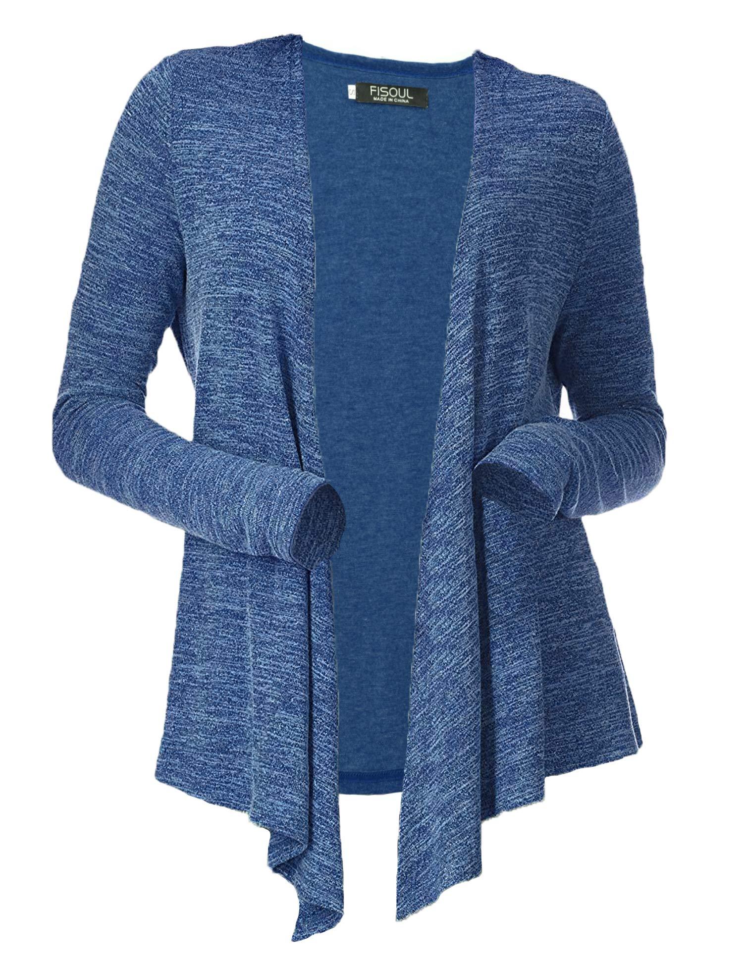 FISOUL Women's Cardigans Open Drape Front Coats Long Sleeve Lightweight Knit Jackets Blue L