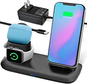 OCOMMO Wireless Charger, 3 in 1 Wireless Charging Station for Apple Watch 5, 4, 3, 2, 1, Airpods, Airpod Pro, iPhone 11, 11 Pro, 11 Max Pro, XS Max, XS, XR (UL AC Power Adapter Included)