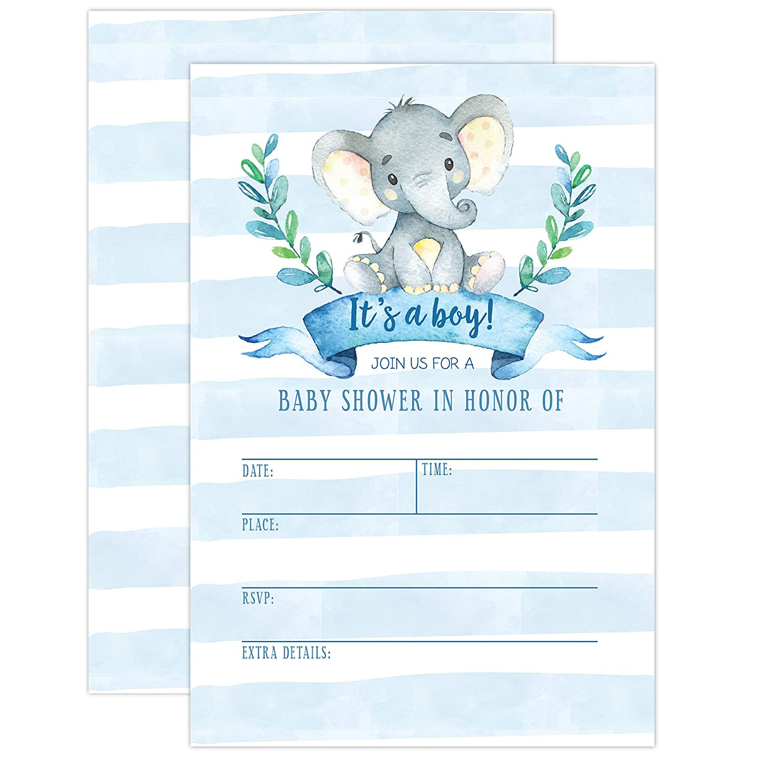 Boy Baby Shower Invitation, Elephant Baby Shower Invitation, Jungle Baby Shower Invite, Tropical Safari Animals Baby Shower, It's a boy, 20 Fill in Invitations and Envelopes It's a boy Your Main Event Prints