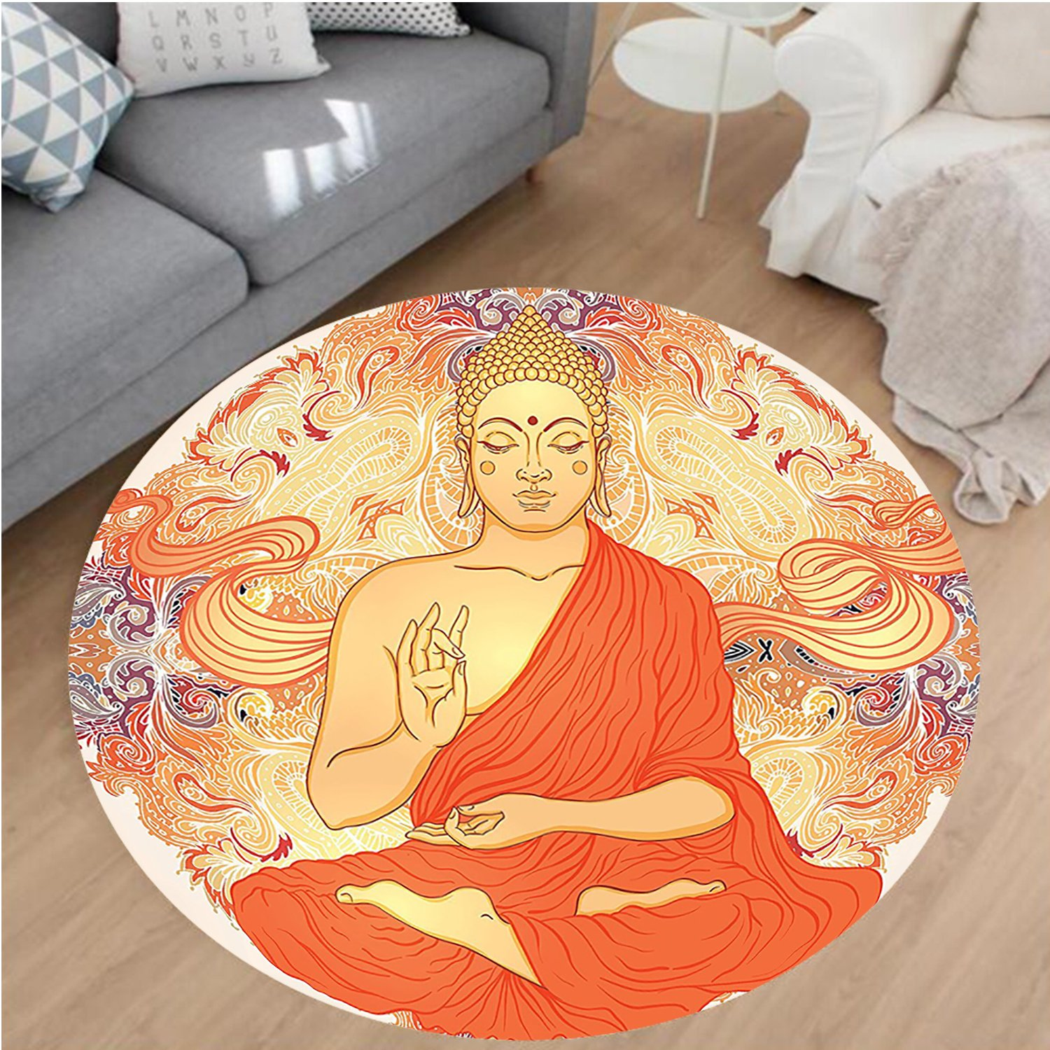 Nalahome Modern Flannel Microfiber Non-Slip Machine Washable Round Area Rug-ation Aura Thai Temple Ornamental Motive Spiritual Design Print Accessories Orange Purple area rugs Home Decor-Round 71'' by Nalahome