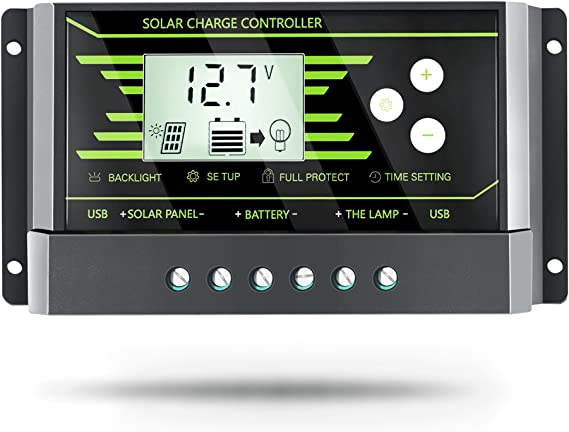 20A APINEE Primium 20A 12V//24V Solar Charge Controller with Paremeter Adjustable PWM LCD Intelligent Panel Battery Regulator Multifunctional Timer and Light ON//Off Temperature Compensation