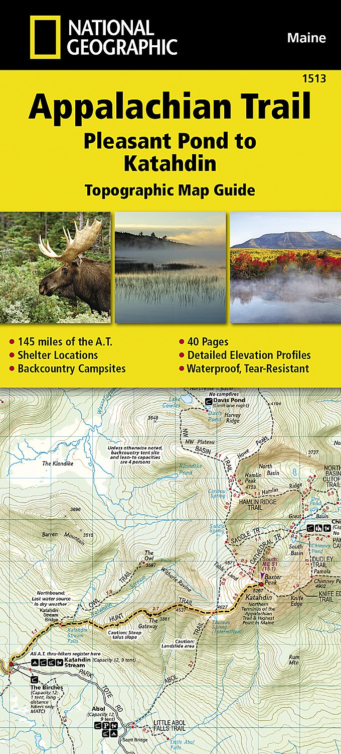 Appalachian Trail, Pleasant Pond to Katahdin [Maine] (National Geographic Topographic Map Guide) [National Geographic Maps - Trails Illustrated] (Tapa Dura)