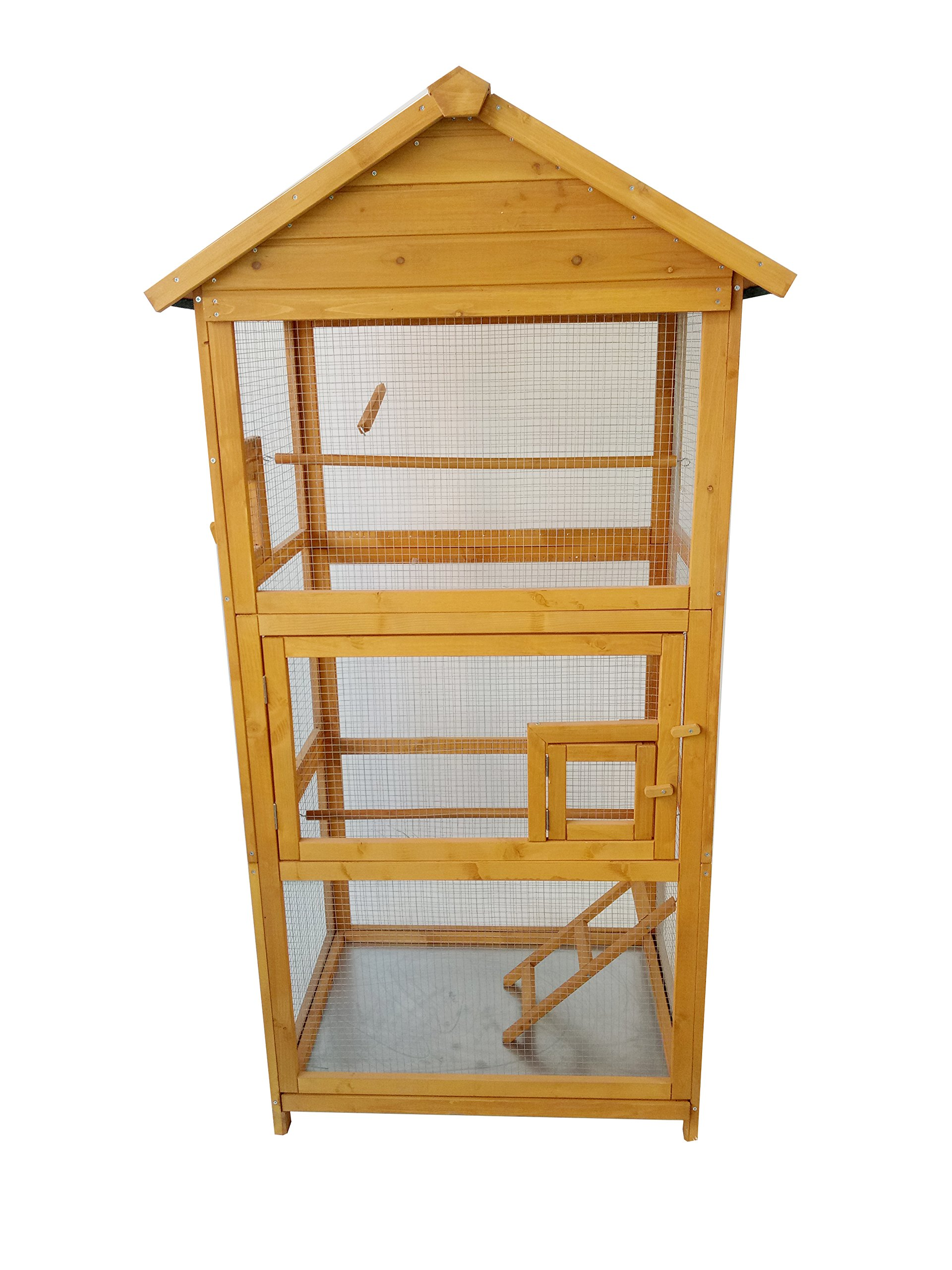 MCombo 70'' Wood Bird Cage Play House Parrot Finch Cockatoo Macaw Aviary Pet Supply 6011-0011 (Natural Color)