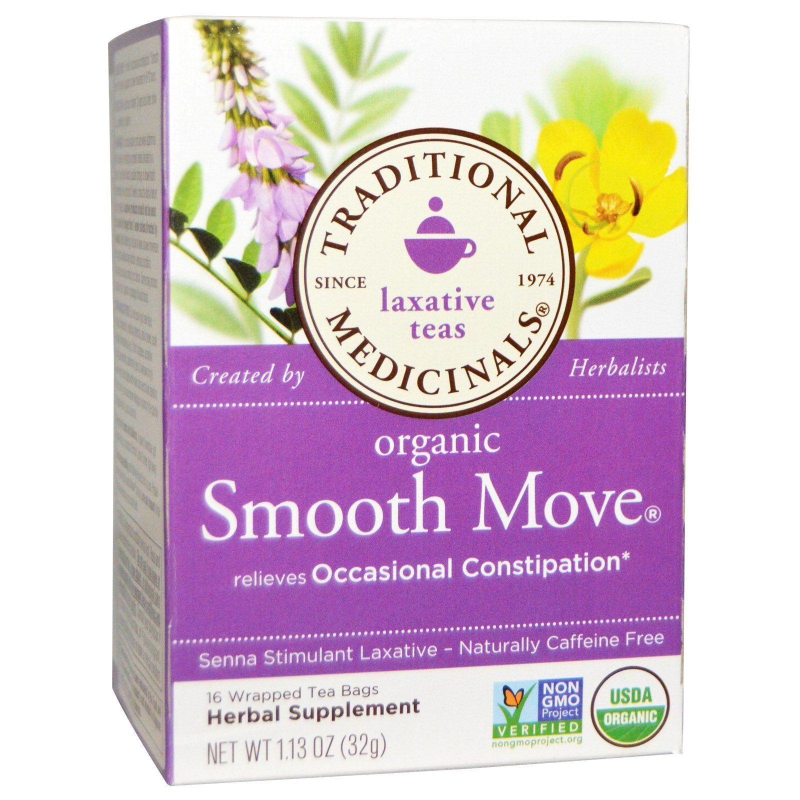 Traditional Medicinals, Organic Smooth Move, Senna Stimulant Laxative, Caffeine Free, 16 Wrapped Tea Bags, 1.13 oz (32 g) - 2PC