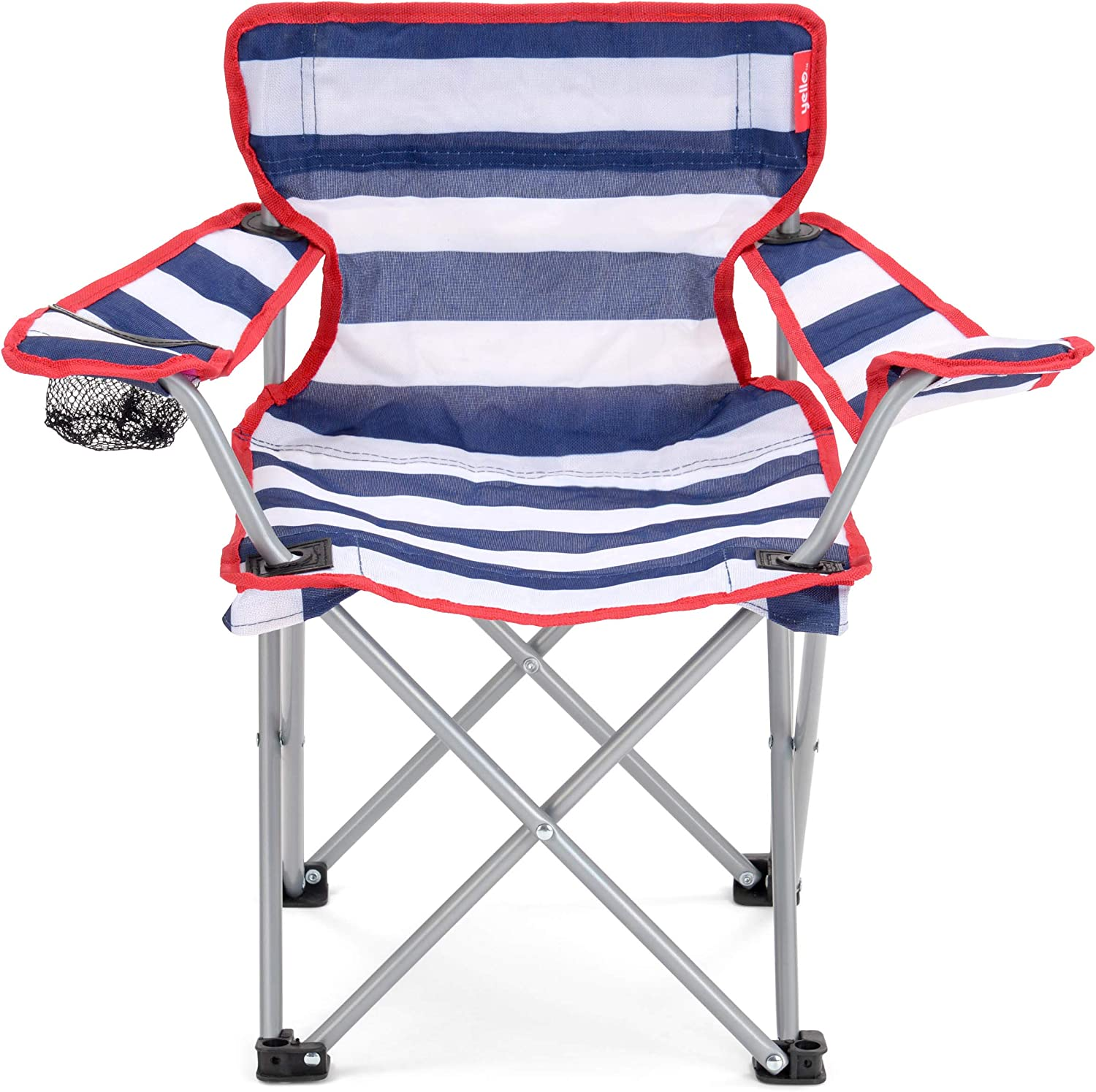 Yello Folding Beach Chair Silla de Camping 53 x 35 x 35 cm Oxford Rayas Azul//Blancas
