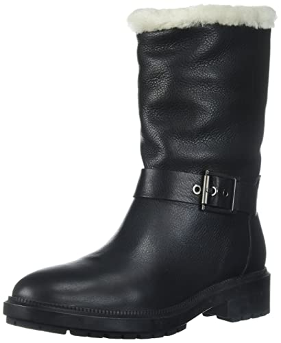 9822eaa84b39 Aquatalia Women s LEDA Grainy Calf Shearling Motorcycle Boot Black 5 M M US