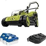 Sun Joe 24V-X2-17LM 48-Volt 17-Inch Mulching Walk-Behind Lawn Mower w/Grass Catcher, Kit (w/ 2X 4.0-Ah Battery and…
