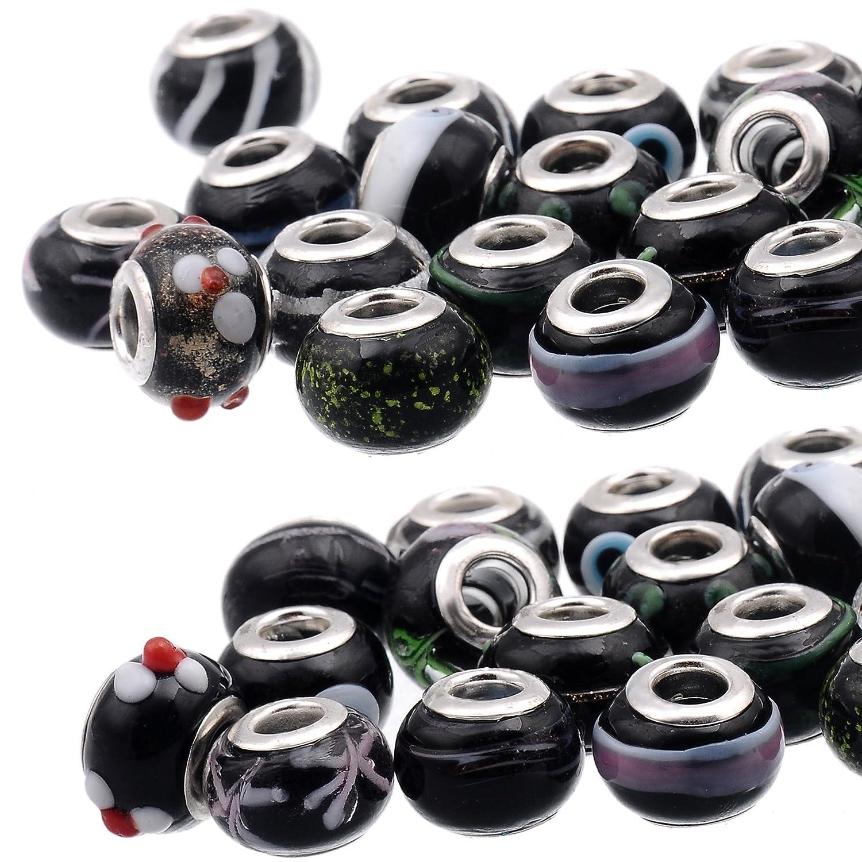 RUBYCA Mix Pink Murano Lampwork Glass Bead Rondelle European Charm Bracelet Silver Color 30pcs 4336822023
