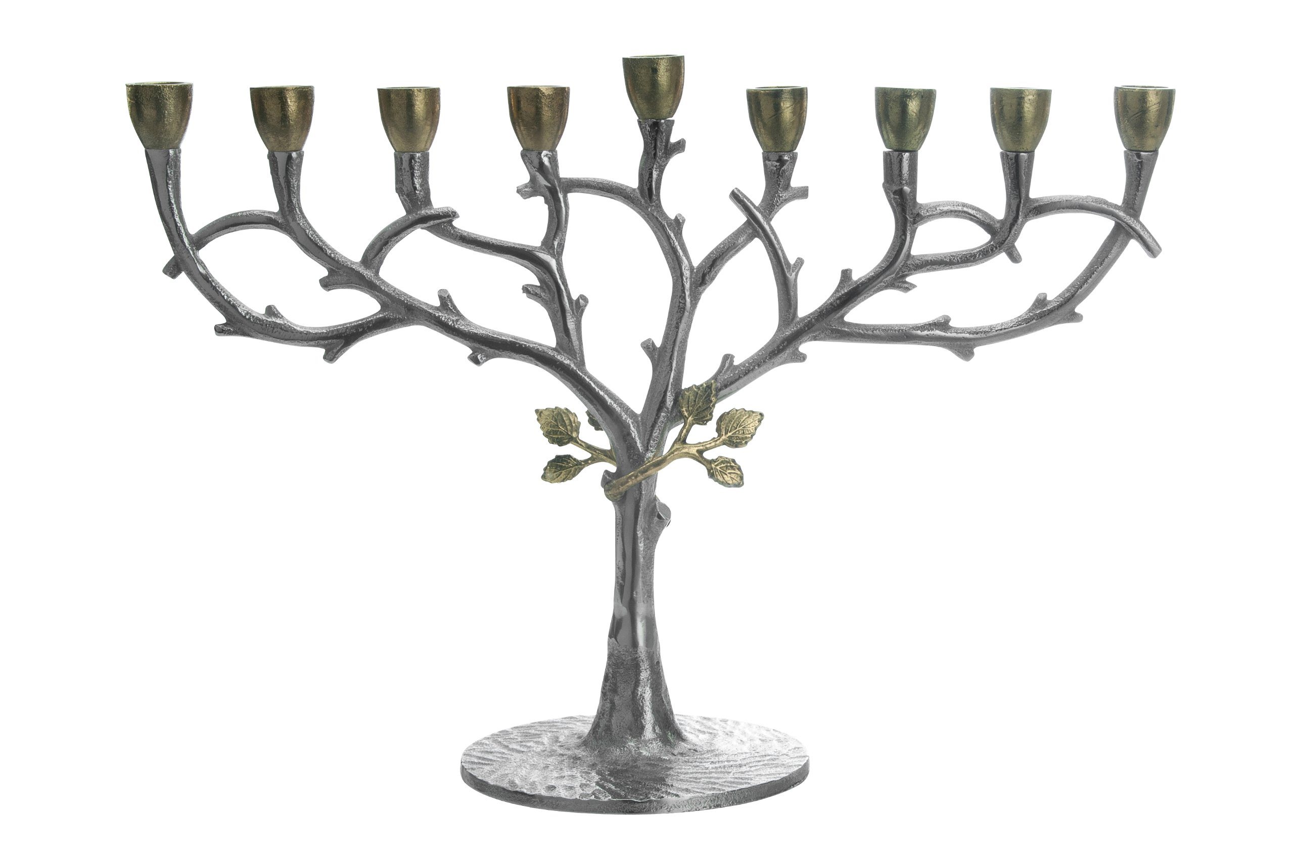 Classic Touch MIM25 Hammered Stainless Steel Oil Menorah by Classic Touch Inc.
