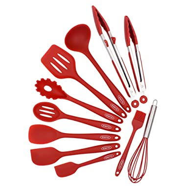 BOBZYXL Silicone Kitchen Utensils Set 11-Piece Cooking Tool and Gadget Set Baking Whisk Brush Spatulas (Red)