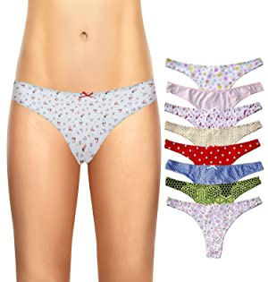 Cotton Whisper Womens 8 pack Cotton String Thong Briefs Vary S