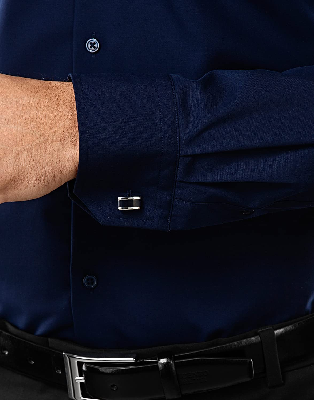 Lisa Ajustada Entallada 100/% algod/ón Vincenzo Boretti Camisa de Hombre no Necesita Plancha Slim-fit Manga-Larga Cuello Kent
