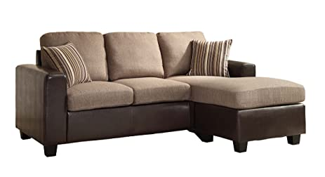Homelegance 8401-3SC Reversible Sofa Chaise with 2 Pillows Brown Linen-Like Fabric  sc 1 st  Amazon.com : fabric chaise sofa - Sectionals, Sofas & Couches