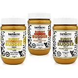 BUDDY BUDDER Bark Bistro Company, Barkin' Banana + Pumpkin Pup + Ruff Ruff Raw, Dog Peanut Butter, Healthy Dog Treat - Made i