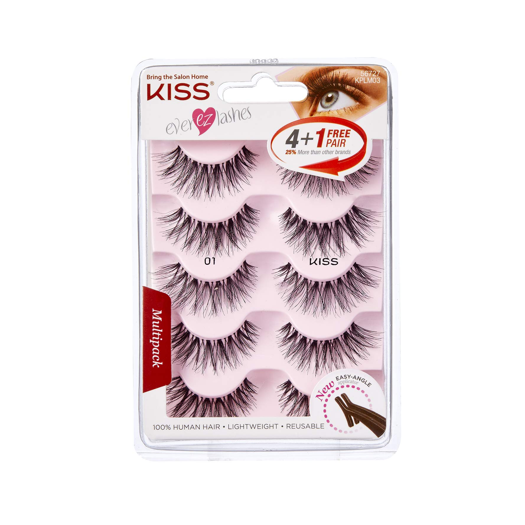 Kiss Ever Ez 01 Lashes 4 + 1 Pairs (6 Pack) by Kiss