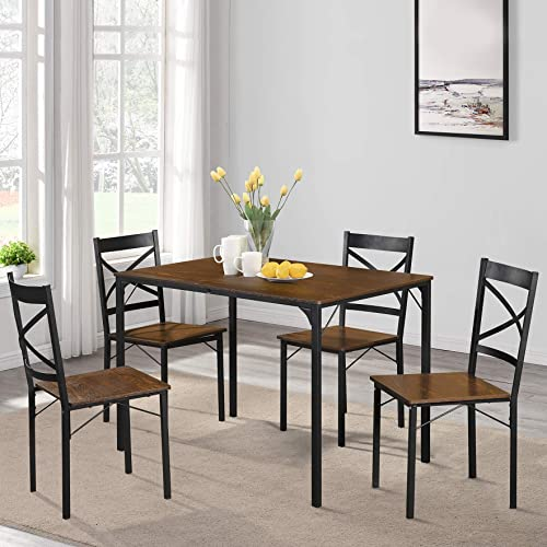 LENTIA Dining Table Set Wooden Kitchen Table and Chairs for 4 Persons, Dining Table and Chairs Set Espresso-1