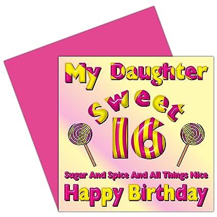 Mi hija dulce 16 tarjeta del feliz cumpleaños - 16th ...