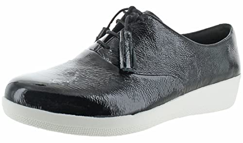 2ce52ccadeab FitFlop Classic Tassel Superoxford - All Black Patent Leather Womens Shoes  4 UK
