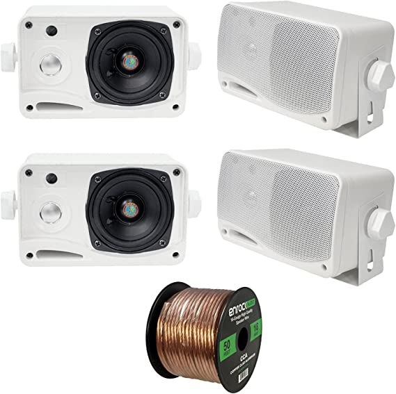 Pyle PLMR24S 3.5-Inch 200 Watt 3-Way Weather Proof Mini Box Speaker System