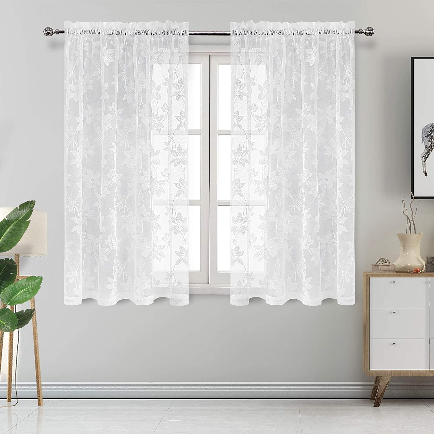 DWCN Floral Lace Sheer Curtains - Rod Pocket Window Voile Sheer Drapes for Bedroom Kitchen Short Curtains 52 x 45 inch Length, Set of 2 White Curtain Panels