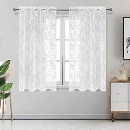 DWCN Floral Lace Sheer Curtains - Rod Pocket Window Voile Sheer Drapes for  Bedroom Kitchen Short Curtains 52 x 45 inch Length, Set of 2 White Curtain  ...