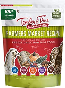 Tender & True Pet Nutrition Farmers Market Recipe Freeze Dry Raw Dog Food, 1 lb.