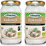BioNutra Kokosöl Bio Fairtrade (100% nativ und rein) 2 x 1000 ml, kaltgepresstes Kokosnussöl/Kokosfett (VCO), Premium-Qualität aus kontrolliert biologischer Herstellung