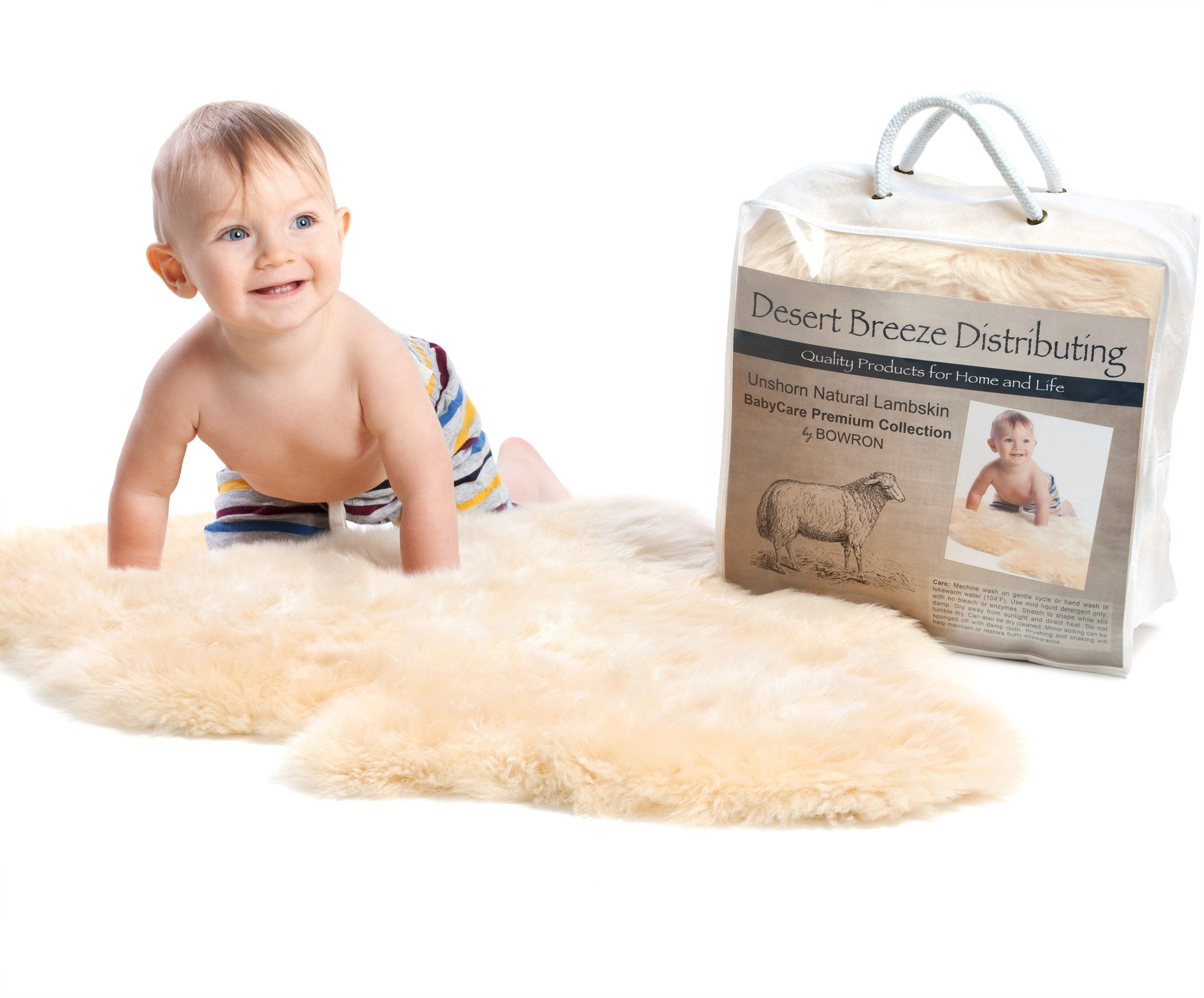 New Zealand Lambskin Baby Rug, Cream Color, Soft Natural Length Fleece, 100% Natural, Oeko-Tex Certified Safe, Premium Sheepskin, Large Size 34'' to 36'' Length, by Desert Breeze Distributing