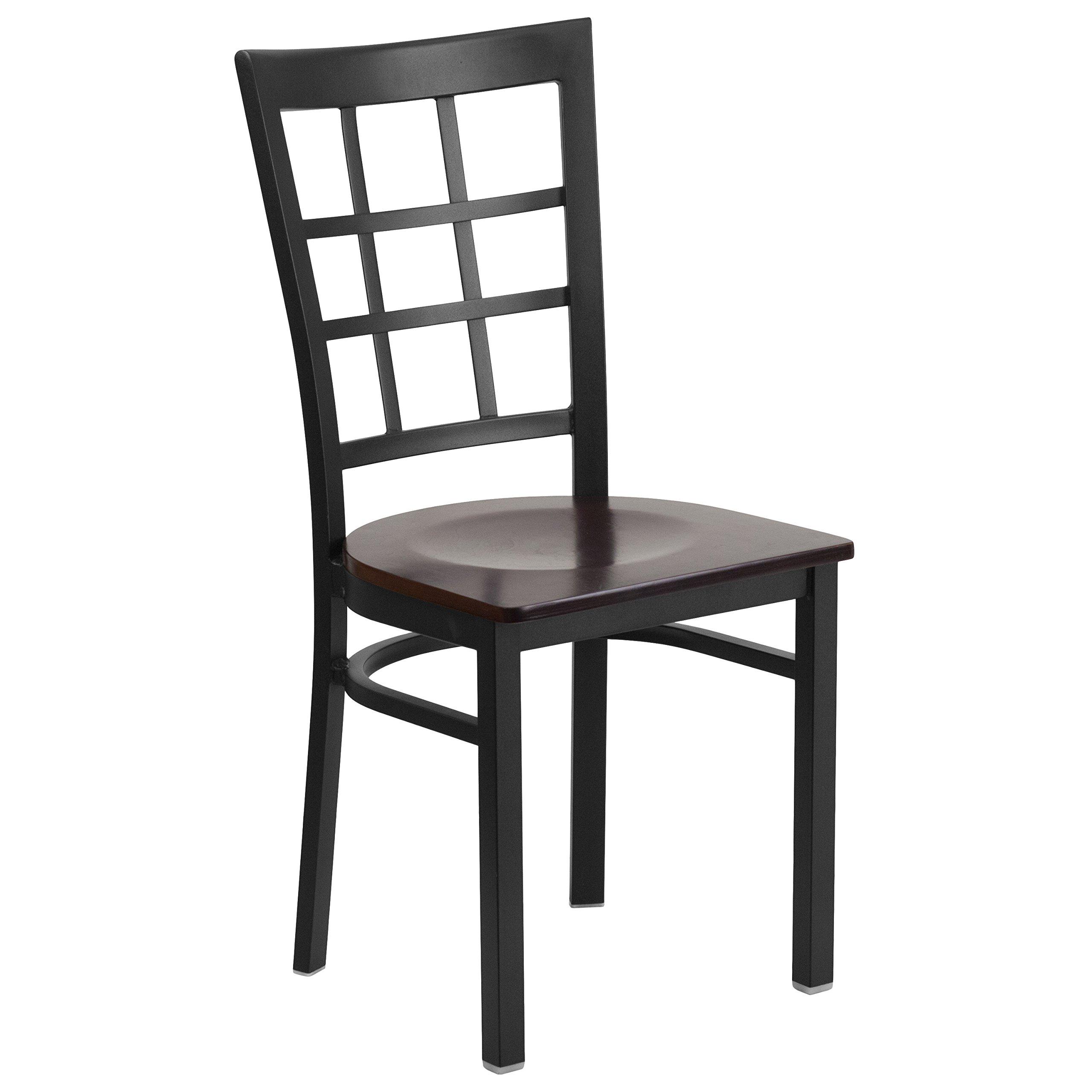 Flash Furniture HERCULES Series Black Window Back Metal Restaurant Chair - Walnut Wood Seat