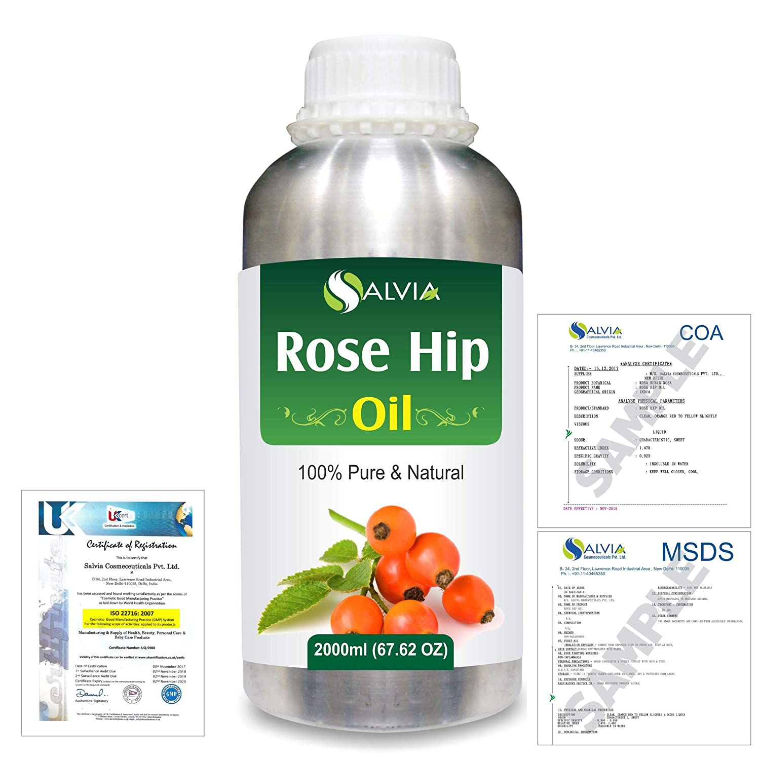 Rose Hip (Rosa moschata) Natural Pure Undiluted Uncut Carrier Oil 2000ml/67 fl.oz. B07R3JGGP8
