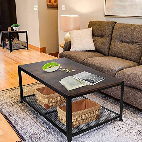 2- Tier Industrial Rectangular Vintage Coffee Table – with Storage Shelf for Living Room, Rectangular Cocktail Metal Frame Legs- Rustic Brown