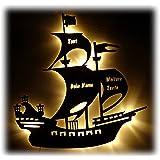 Schlummerlicht24 Deko Holz Lampe Piratenschiff mit Name und Geburtsdaten Geschenk-e für Piraten-Zimmer Jung-e Mädchen Mann Männer Kinderzimmer