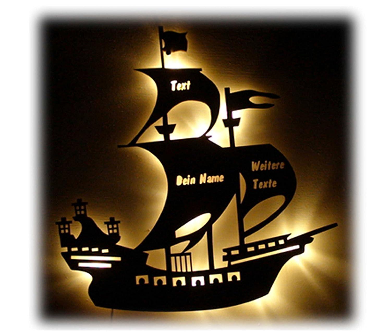 Schlummerlicht24 Deko Holz Lampe Piratenschiff mit Name und ...