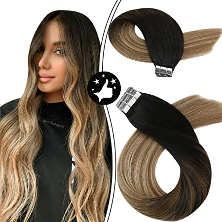 Image ofMoresoo 14Pulgadas Humano Hair Extensions Real Hair Tape in Hair Extensions PU Tape Color #1B Off Black Fading to #6 Brown and #18 Blonde Remy Humano Hair Extensions 20PCS 50G