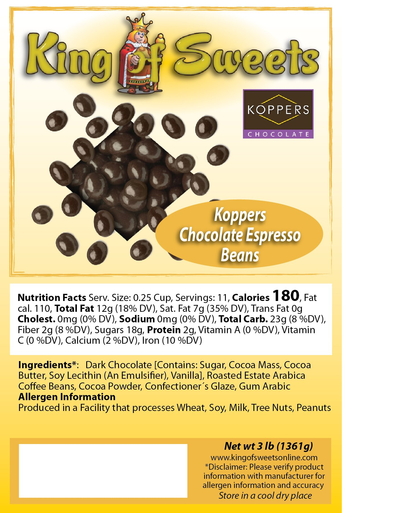 Koppers Chocolate Espresso Beans (3 LB)
