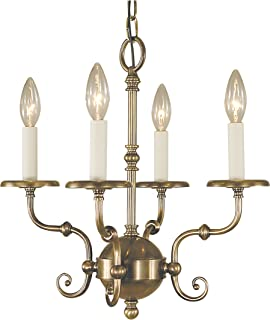 "product image for Framburg 2374 AB 4-Light Jamestown Mini Chandelier, 88"" x 17"" x 16"", Antique Brass"