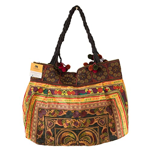 Changnoi Mocha Bird One of a Kind Embroidered Tote Handmade Boho Bag from Thailand