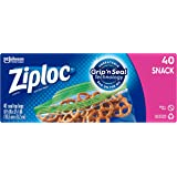 Ziploc Snack Bags with New Grip 'n Seal Technology, Ideal for Packing Cookies, Fruits, Vegetables, Chips and More, 40 Count