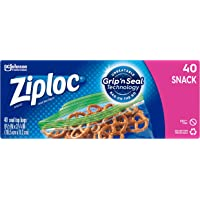 Ziploc Snack Bags with New Grip 'n Seal Technology, Ideal for Packing Cookies, Fruits, Vegetables, Chips and More, 40…