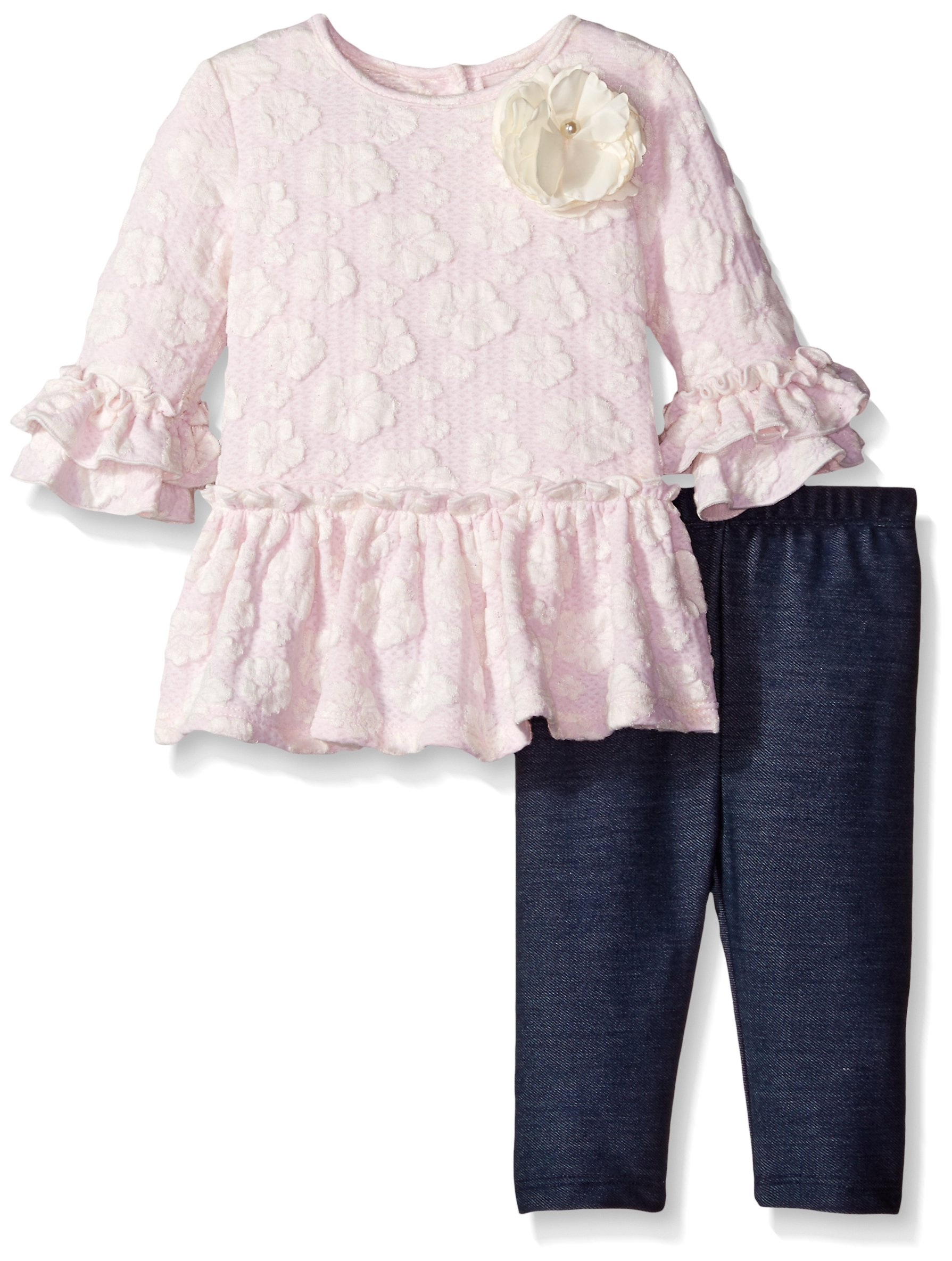 Pippa & Julie Baby Girls' Lace Knit Play Set, Pink, 24 Months