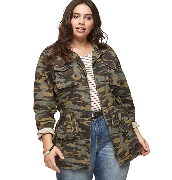 b4130c93234 Amazon.com: Loralette Women's Camo Anorak Jacket, 2X Olive: Clothing