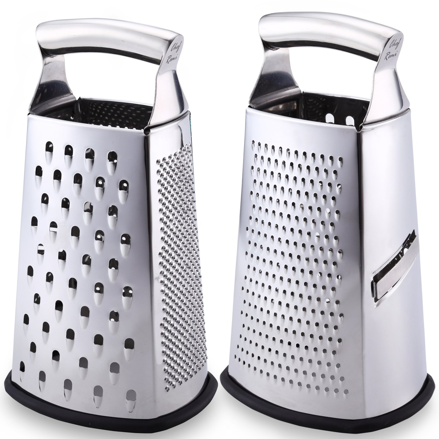 Latest 4-Sided Box Grater - Rated No.1 Best Stainless Steel Food Shredder for Cheese, Ginger, Lemon, Orange, Nuts & Vegetables Like Cabbage, Carrot and Potato Chef Remi