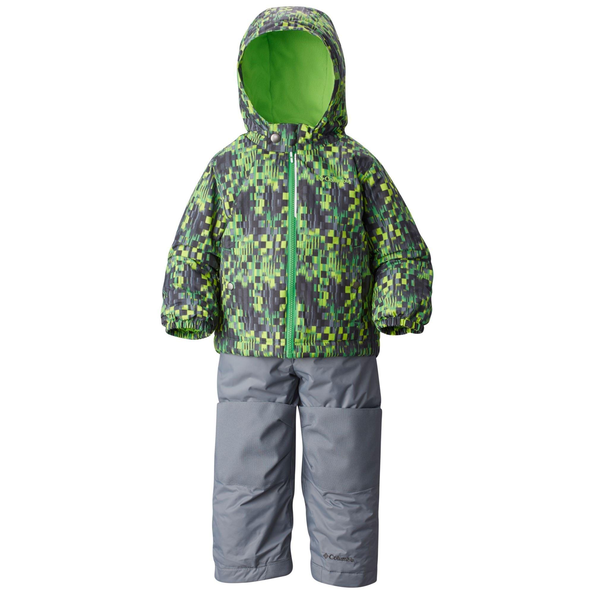 Columbia Little Boys' Toddler Frosty Slope Set, Green Mamba Block Print, 3T