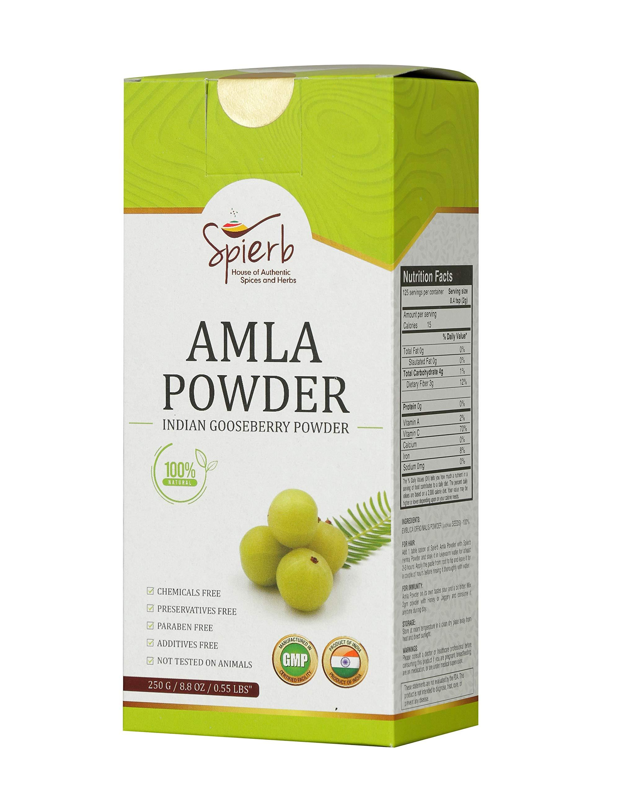 Spierb Amla Powder - Immunity Enhancer Keto-Friendly Indian Gooseberry Powder Super Food   Non-Irradiated Amla Powder for Hair Growth Without Preservatives   Pure Phyllanthus/Amalaki