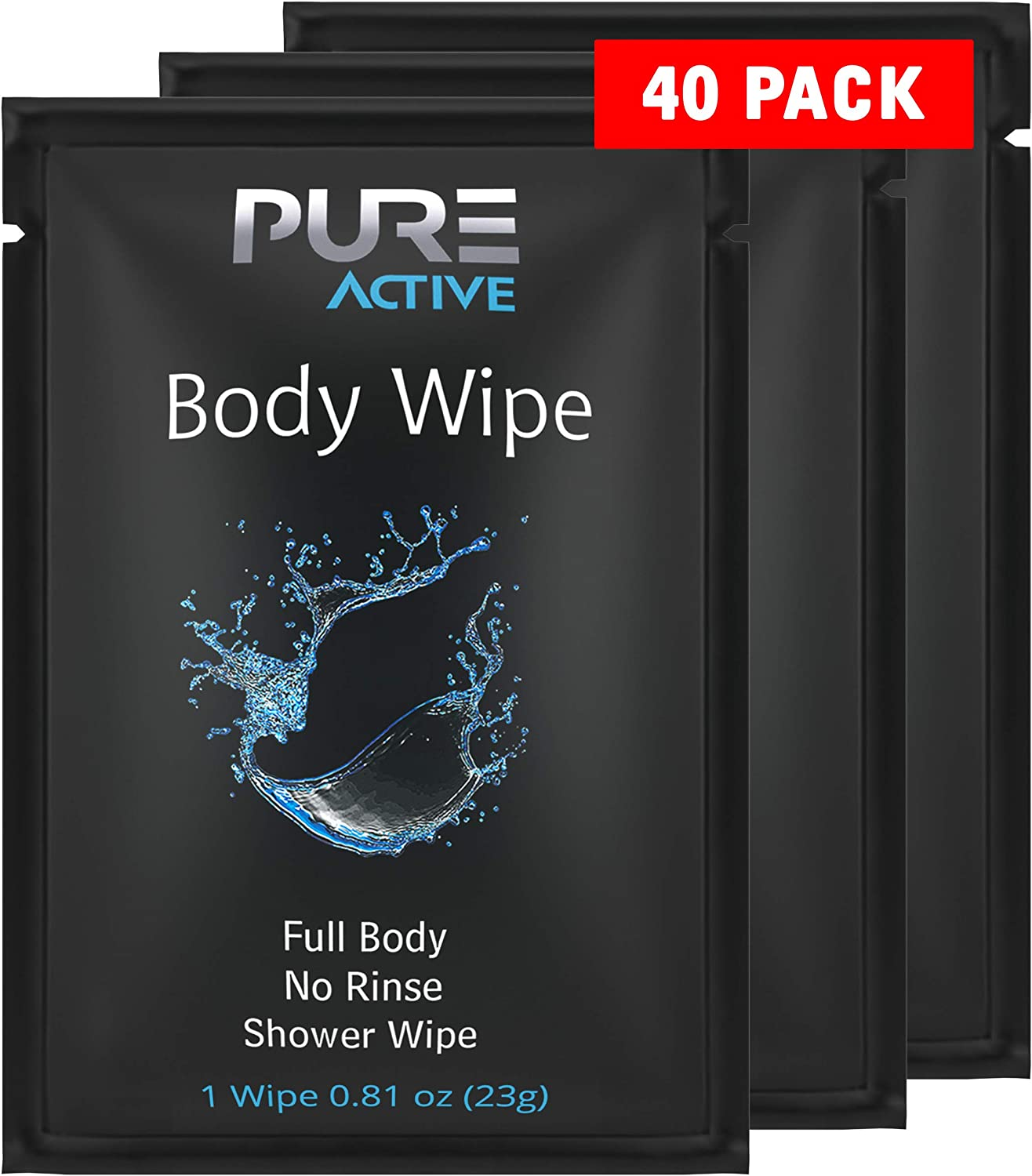 Shower Body Wipes, 40 Individually Wrapped Personal Hygiene Body Wipes for Women and Men, Keep Clean After Gym Travel Camping Outdoors Sports (Black, 40 Pack) (Fresh, 40 Pack)