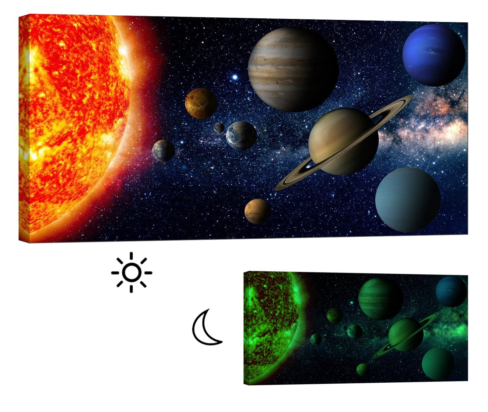 LightFairy Glow in the Dark Canvas Painting - Stretched and Framed Giclee Wall Art Print - Space Outerspace Solar System - Master Bedroom Living Room Decor - 6 Hours Glow - 46 x 24 Inch