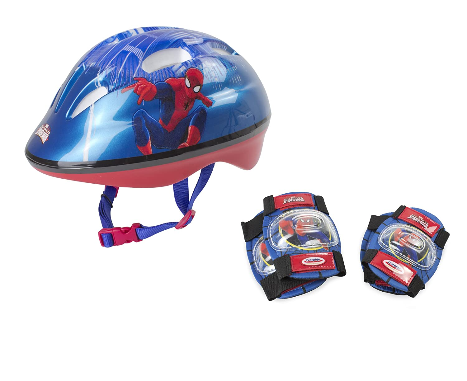 Marvel Kinder OSPI204 D'arpeje Spiderman Safety Set Helmet 2 Pad, deep Blue, S DARPA|#D'arpeje Outdoor